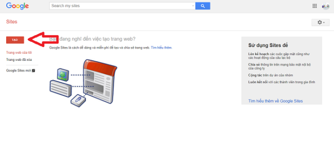 thiết kế website miễn phí với Google Sites