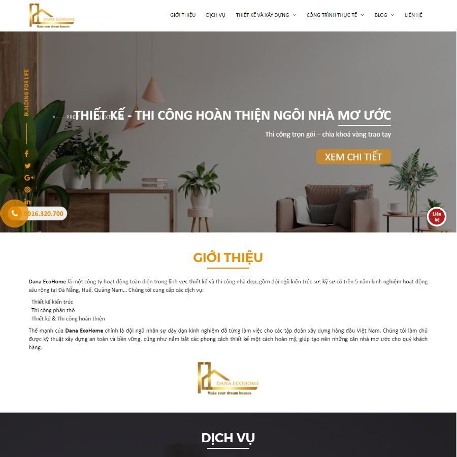 Website xây dựng Dana Ecohome